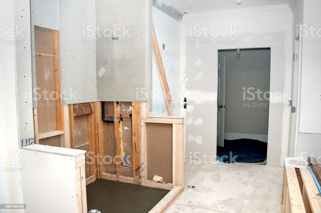 Unfinished renovation of a home bathroom stock photo