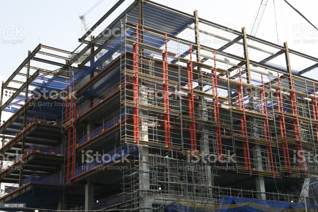 Unfinished Steel Frame Building At A Construction Site Stock Photo ...