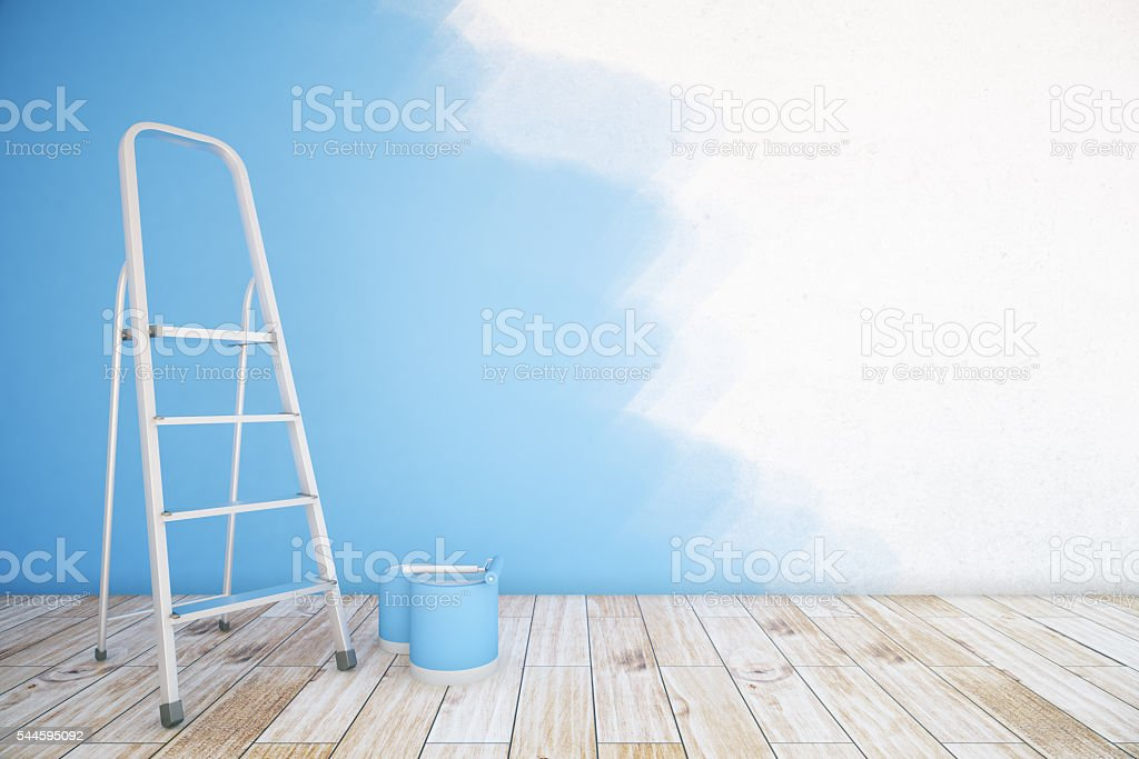 Unfinshed blue room stock photo