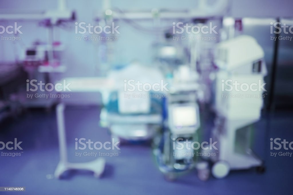 Unfocused background of patient in the intensive care unit under...