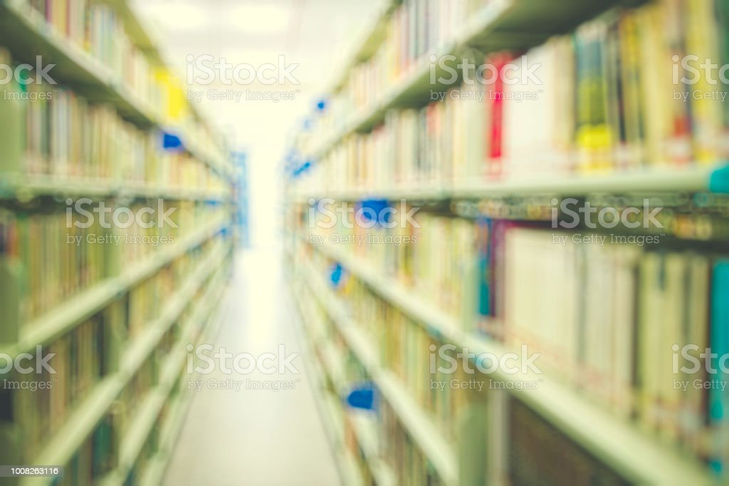 Unfocused Image Of Modern Library Stock Photo - Download ...