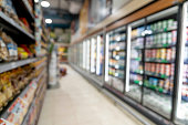 Unfocused shot of aisle at a supermarket - No people