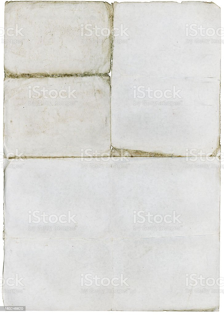 Unfolded old paper with rough edges royalty-free stock photo