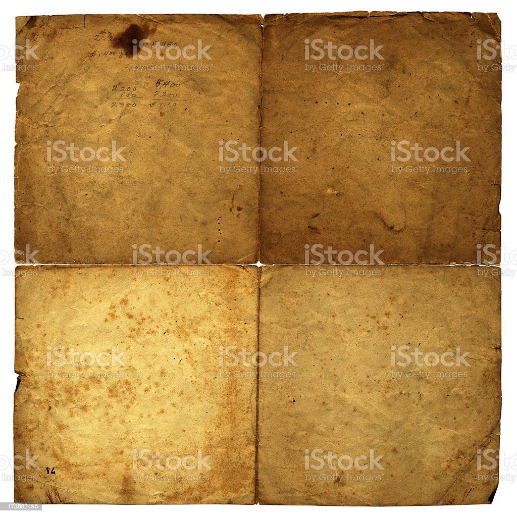 unfolded square old paper (high res) royalty-free stock photo
