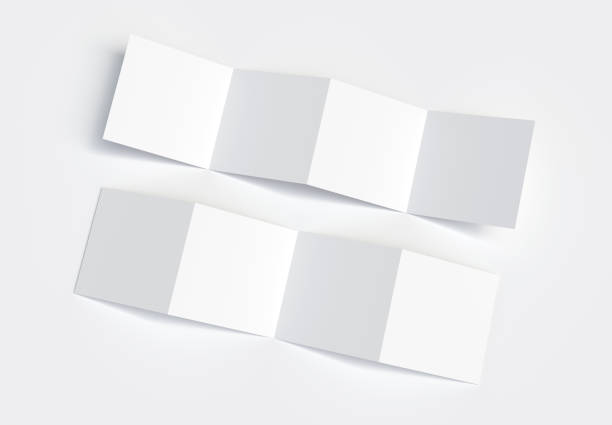 Unfolding Square 4-Fold Brochure Outside & Inside Mockup. 3d rendering. Unfolding Square 4-Fold Brochure Outside & Inside Mockup. 3d rendering. number 4 stock pictures, royalty-free photos & images