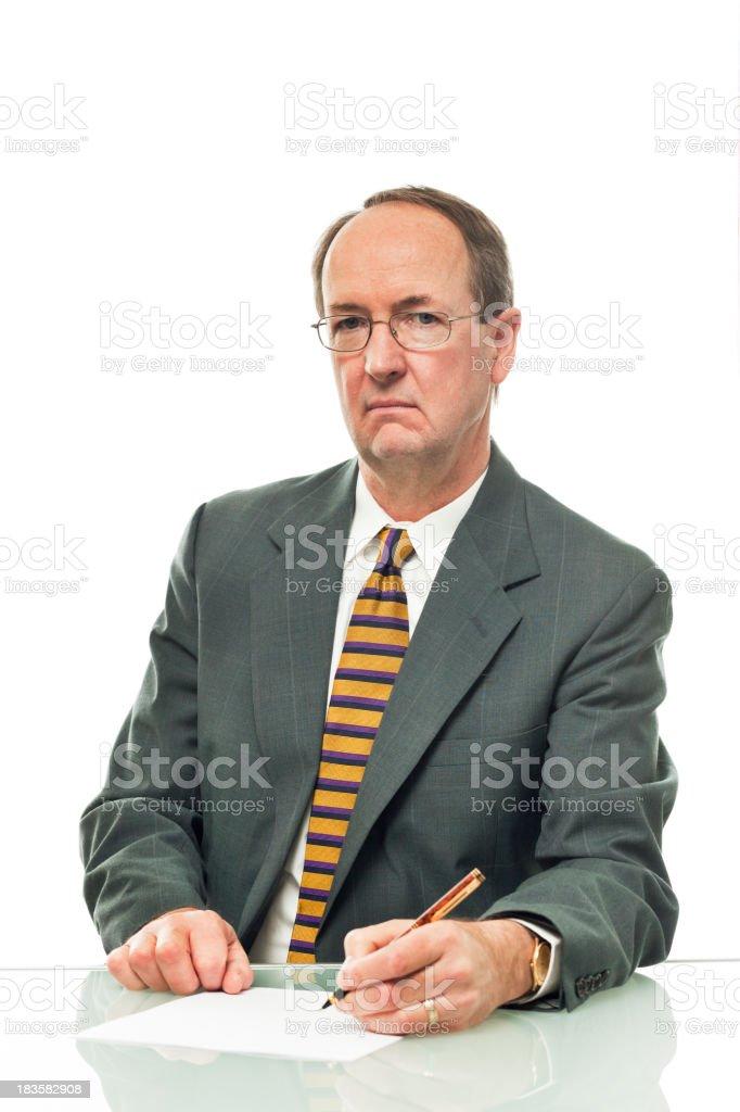 Unfriendly Grumpy Businessman, Financial Advisor, Loan Officer on White Background stock photo