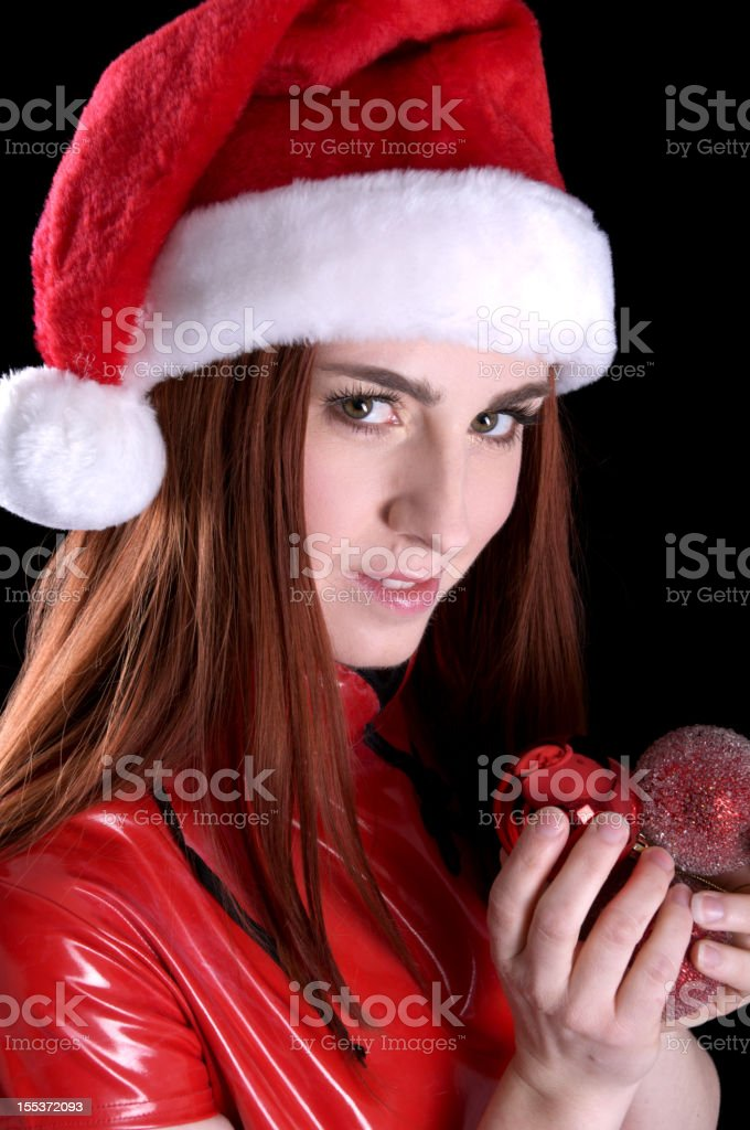 Unfriendly look from Santa's helper. royalty-free stock photo