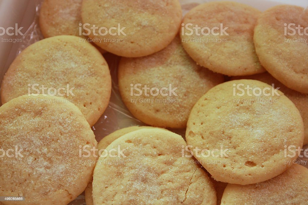 Unfrosted Sugar Cookies Up Close stock photo