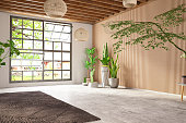Unfurnished Cozy Bedroom with Wooden Wall and Window. 3d Render