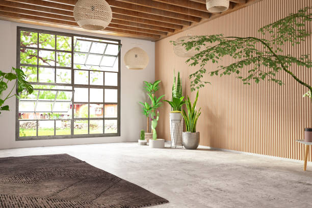 Unfurnished Cozy Bedroom with Wooden Wall and Window stock photo