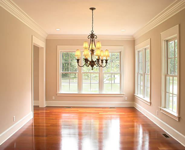 unfurnished diningroom with lots of windows - crown stock photos and pictures