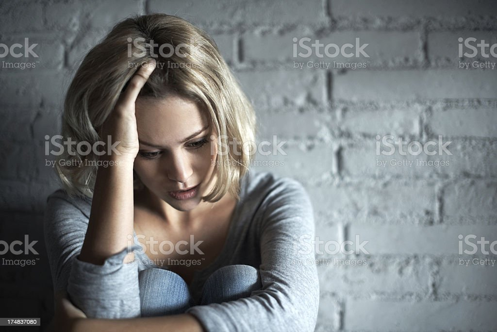 Unhappiness has taken over stock photo