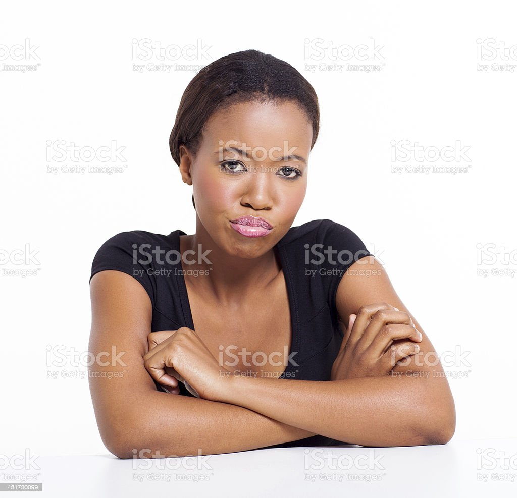 unhappy african american girl portrait of unhappy african american girl Adult Stock Photo