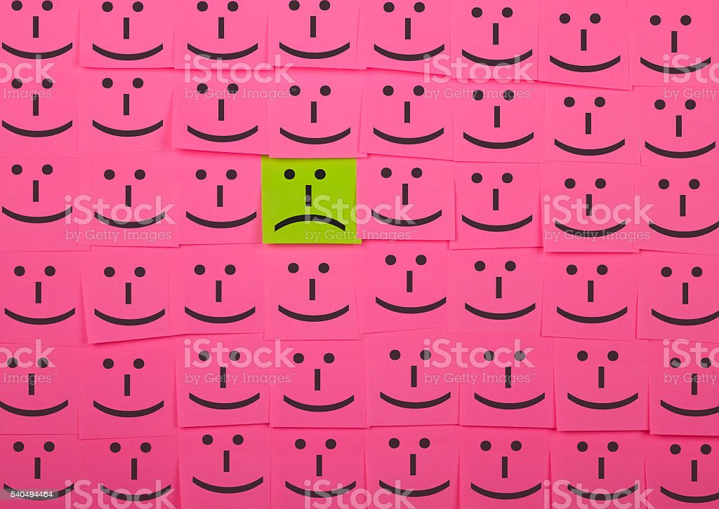Unhappy and happy concept. Background of Sticky Notes. stock photo