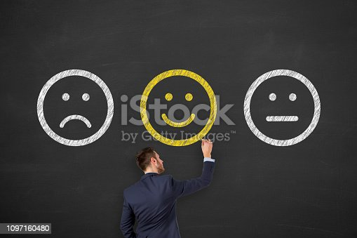 istock Unhappy and Happy on Blackboard 1097160480