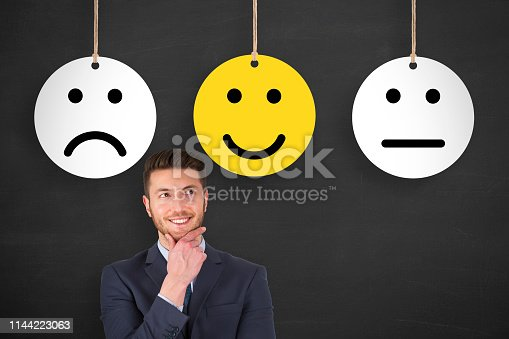 istock Unhappy and Happy on Blackboard 1144223063