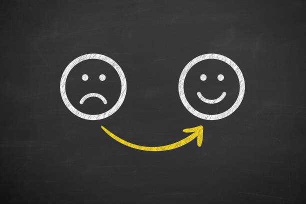 Unglücklich und glücklich auf Chalkboard – Foto