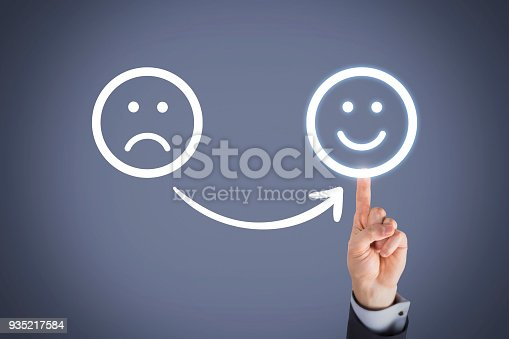 517629622 istock photo Unhappy and Happy on Touch Screen 935217584