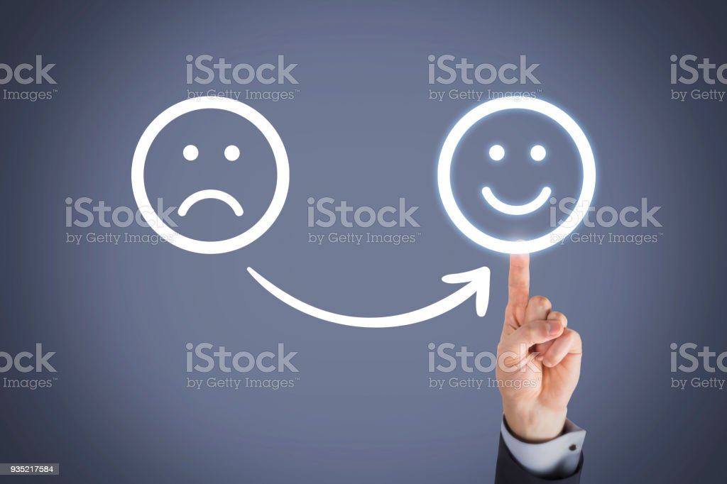 Unhappy and Happy on Touch Screen stock photo