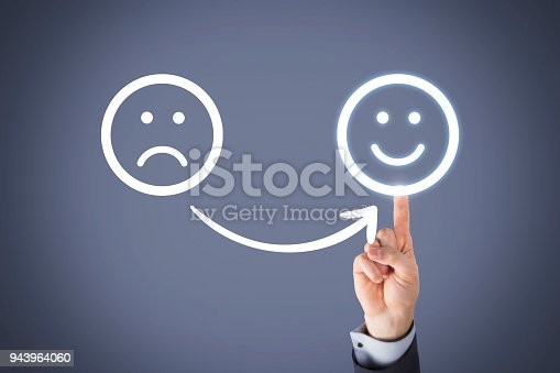 517629622 istock photo Unhappy and Happy on Touch Screen 943964060