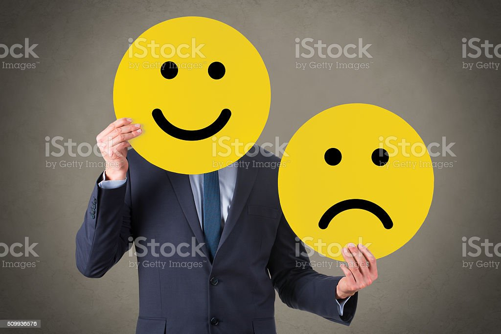Unhappy and Happy Smile stock photo