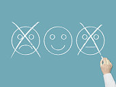 Unhappy and happy smileys - Business Chalkboard Background