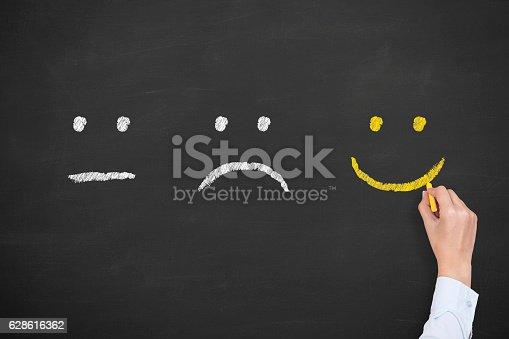 istock Unhappy and happy smileys on chalkboard 628616362
