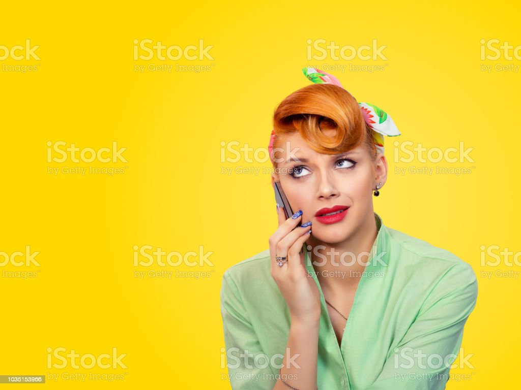Unhappy Angry Young Woman Pinup Girl Talking On Mobile Phone Stock