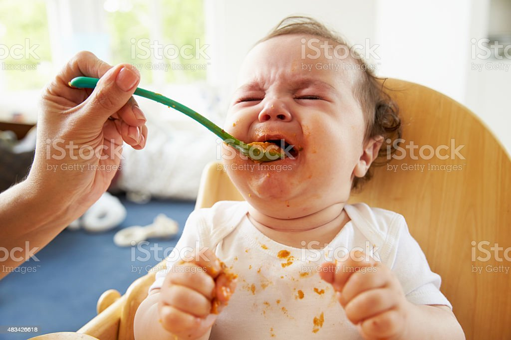 Unhappy Baby Being Fed In High Chair At Meal Time stock photo