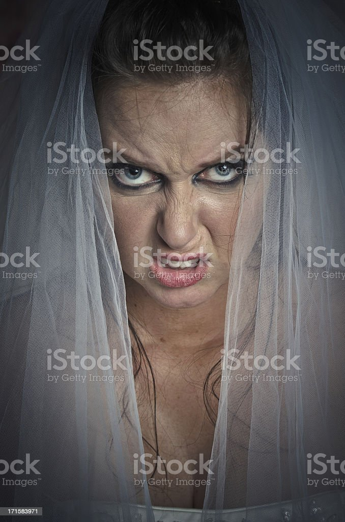 Unhappy Bride With Angry Facial Expression stock photo