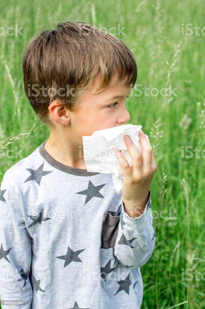 unhappy child with grasses allergy in the meadow