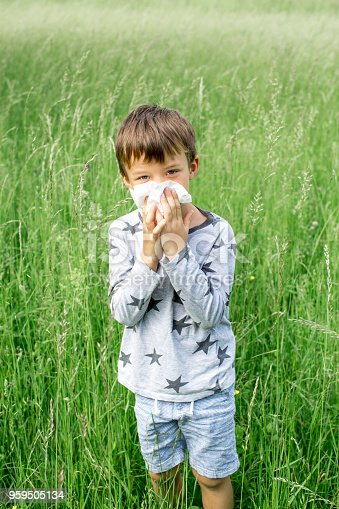 629307146istockphoto unhappy child with grasses allergy in the meadow in austria 959505134