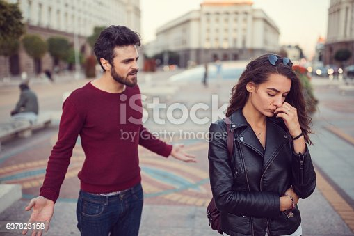 istock Unhappy couple fighting outside 637823158