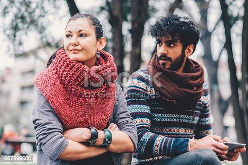 istock Unhappy couple outside 667899600