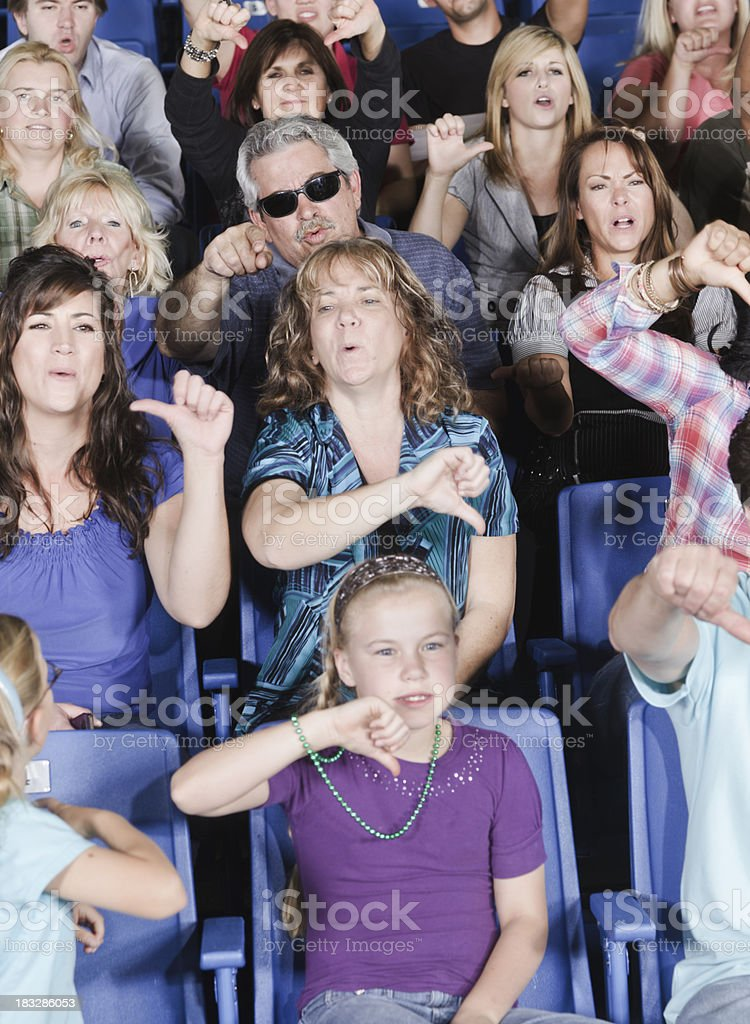 Unhappy Crowd in a Stadium stock photo