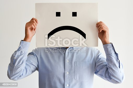 istock Unhappy employee or demotivated at working place 485840958