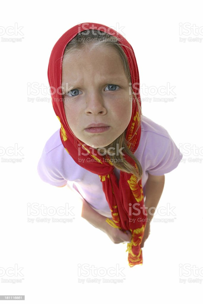 Unhappy Girl (isolated) royalty-free stock photo