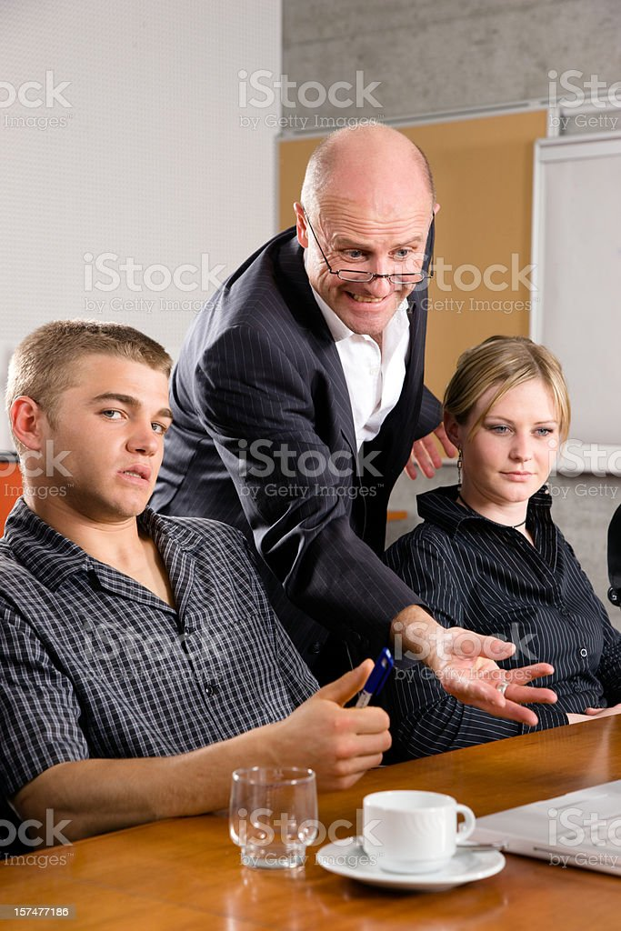 Unhappy Manager in Business Meeting royalty-free stock photo