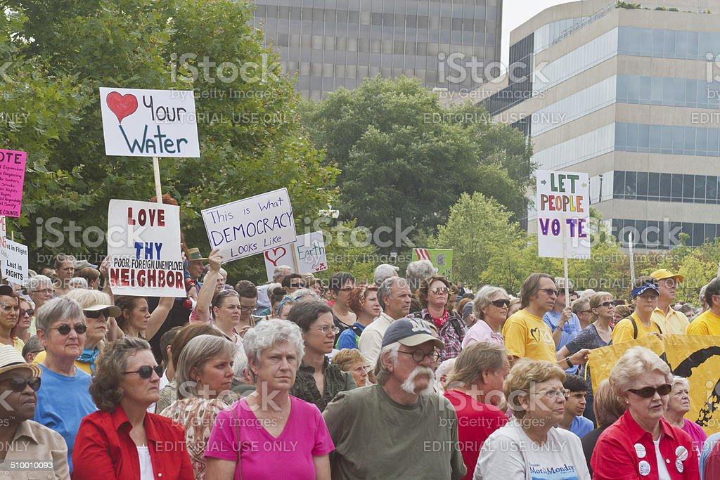 Unhappy Moral Moday Protesters stock photo