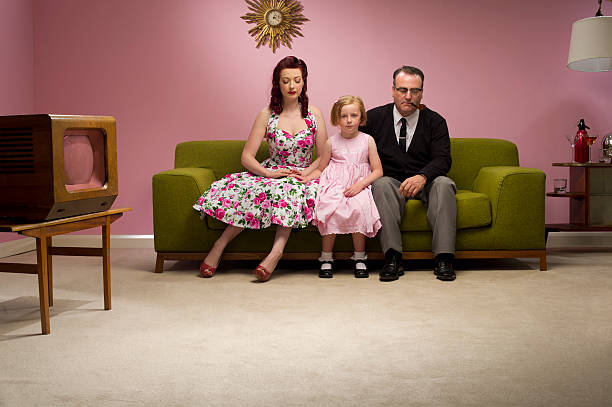unhappy retro family stock photo