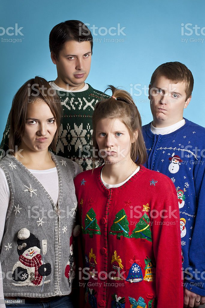 Unhappy Sweater Group stock photo