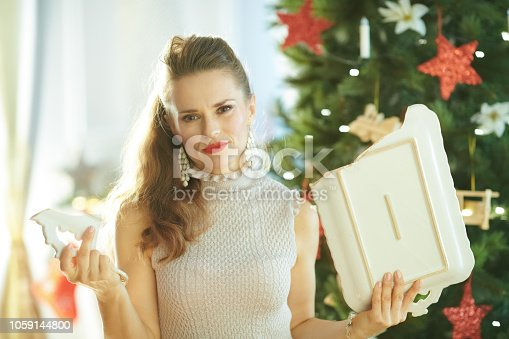 1059144984 istock photo unhappy trendy woman with broken dish near Christmas tree 1059144800