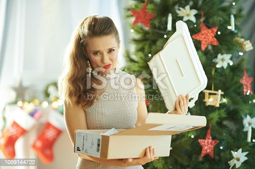 1059144984 istock photo unhappy woman with broken dish from parcel near Christmas tree 1059144722