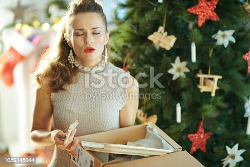 1059144984 istock photo unhappy young housewife pulling out broken dish from parcel 1059145044