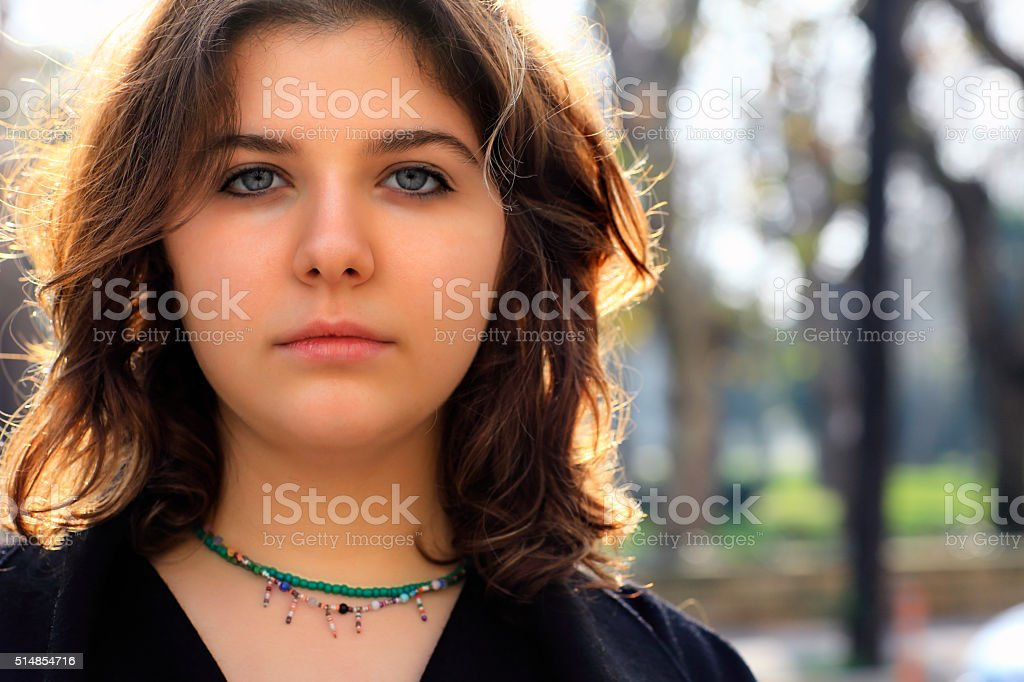 Unhappy young woman stock photo