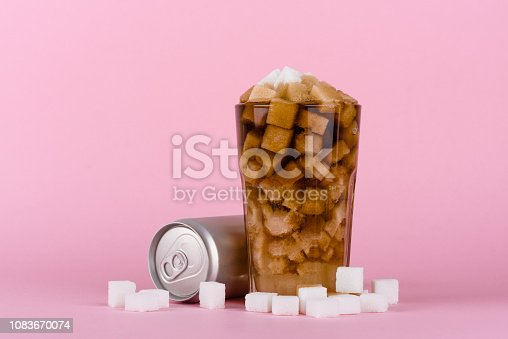 Unhealthily diet with sweet sugary soft drinks concept