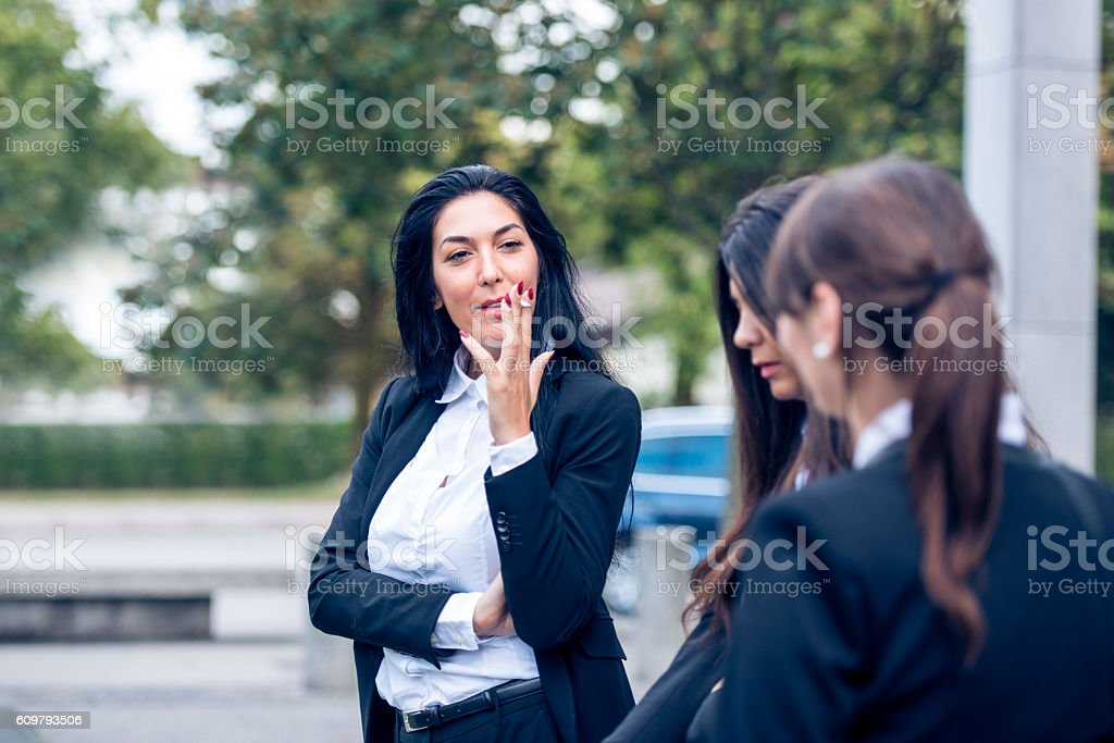 Unhealthy break during important meeting stock photo