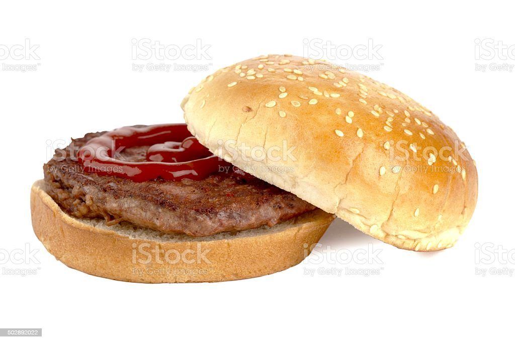 unhealthy burger sandwich with ketchup stock photo