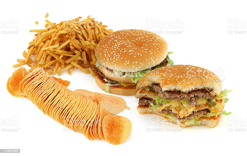 unhealthy food composition royalty-free stock photo