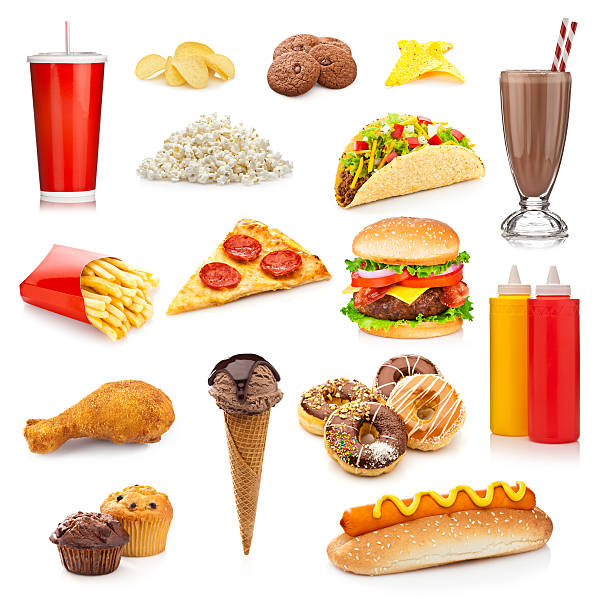 Unhealthy food isolated on white background stock photo